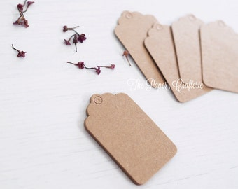 Mini Rectangle Scallop Kraft Brown Gift Tags - Set of 25