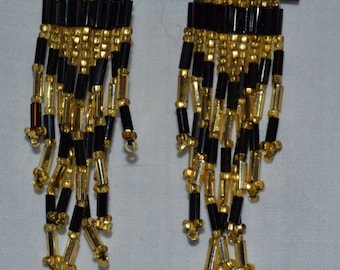 Gold and Black Native American Style Beaded Earrings