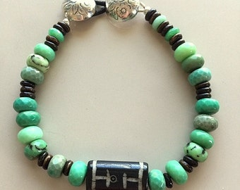 Chrysoprase and Hand Carved Wood Bracelet Sterling Silver Clasp -Turquoise Green Gemstone Bracelet
