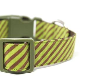 Olive Green Striped Dog Collar, Boy Dog Collar, Brown Stripes Adjustable - Henry