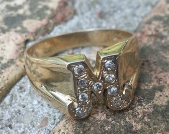 Initial M ring, diamond ring, initial diamond ring, 14k initial ring, initial ring M, diamond M ring, initial jewelry, personalized ring
