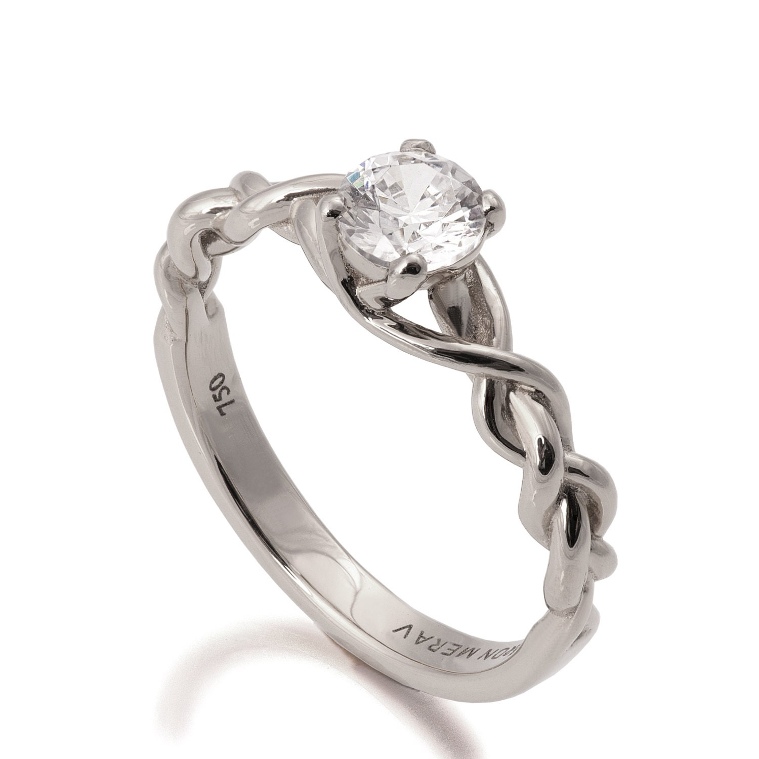 braided engagement ring 18k white gold and