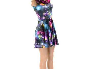UV Glow Galaxy Print Sleeveless Skater Dress with Neon Pink Hood Lining Lycra Spandex Clubwear Festival Rave 151256
