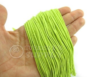 Afghan Beads, 2mm Lime Green Heishi Bead Strands Howlite Seed Beads One 1 Full Strand Semiprecious Gemstone Beads, Loose Beads