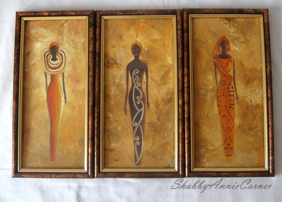 African Painting African Wall Art African Wall Decor Brown