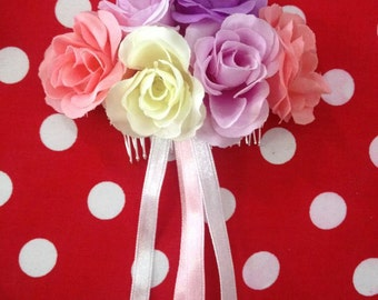 Pastel Rose Bouquet Slide Comb