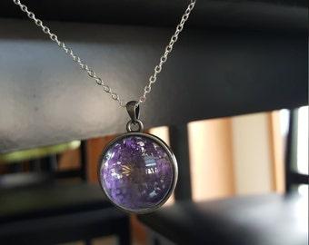 purple flower necklace, purple necklace, flower necklace, glass necklace, glass ball necklace, silver necklace, necklace