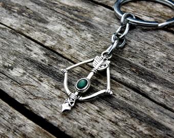 Green Arrow Keychain, arrow lanyards, silver arrow key fob, arrow keyring, arrow jewelry, green key chain, fantasy jewelry archer keychain