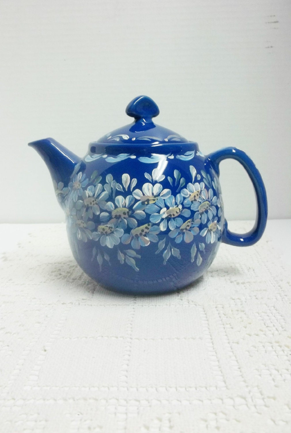 New 3 cup blue stoneware teapothand painted by folkartbynancy - Chantal teapots ...