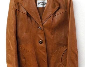 Lambskin Leather Caramel Jacket 1970's Size Large
