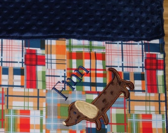 Dachshund -Custom Monogrammed Navy Minky Baby Blanket with Embroidered Dachshund- Madras Plaid