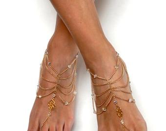 Swarovski Barefoot Sandals Tribal Anklet Tribal Foot Jewelry Bohemian Anklet Boho Chic Sandals Boho Foot Jewelry Bohemian Jewelry Foot Thong