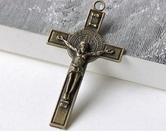 6 pcs of Antique Bronze Cross Crucifix Pendants Charms 40x72mm A7742