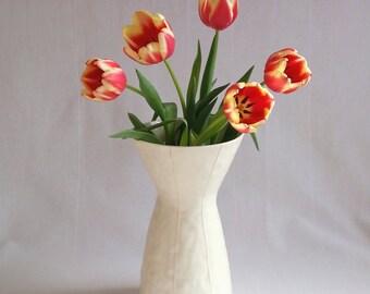 Tall ceramic vase. Large white vase. Wedding gift or Mothers day gift. Simple modern design. Handmade interior decor. Gift for gardener