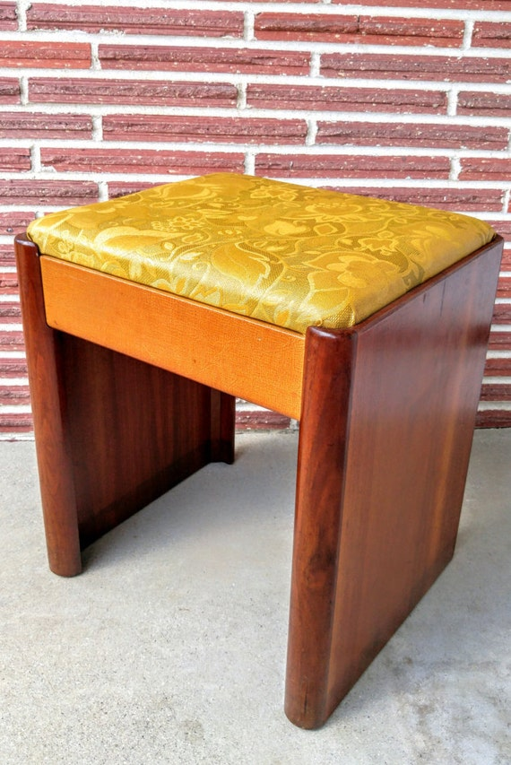 mid century danish modern teak vanity storage bench with two. Black Bedroom Furniture Sets. Home Design Ideas
