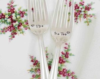 I Do Me Too Forks, Wedding Forks, Wedding Cake Forks, Personalized Forks, Wedding Gift, Couples Gift, Wedding Date Forks, Forks with Date
