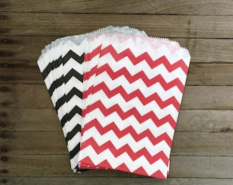 48 Red and Black Favor Bag--Chevron Favor Sack--Candy Favor Bag--Chevron Goodie Bag-- Party Sack--Birthday Treat Sacks