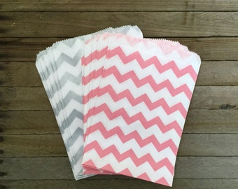 48 Pink Silver Favor Bag--Chevron Favor Sack--Pink and Silver Candy Favor Bag-- Goodie Bag--Party Sack--Birthday Treat Sacks