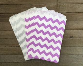 48 Lilac Silver Favor Bag--Chevron Favor Sack--Lavender Silver Candy Favor Bag-- Goodie Bag--Party Sack--Birthday Treat Sacks