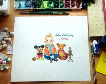 Custom Kid Portrait, An original watercolor kid portrait , custom portrait, custom illustration.