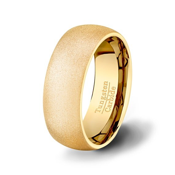Mens Wedding Band 8mm Tungten Ring Dome High End By TungstenOmega