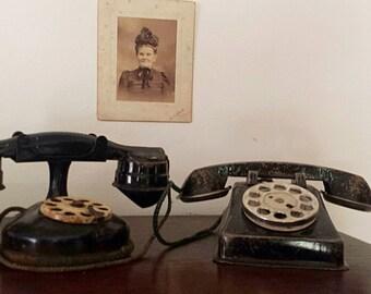 Vintage Black Metal Toy Telephone * FREE SHIPPING *