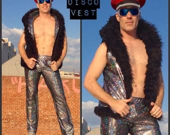 Men's Reversible Disco Hooded Fur Vest // Burning Man Vest // Disco Vest