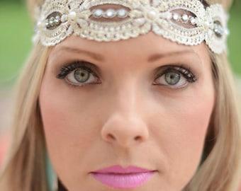 Hippi Style Headband, Bohemian Lace Headband, Wedding Headband, Stretch Lace Headband, Headbands, Elastic Headband