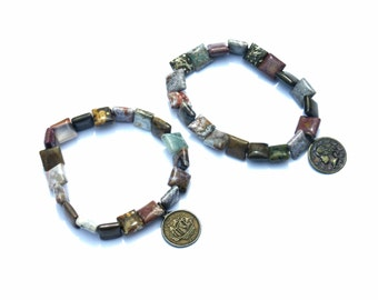 Square-cut Jasper Bead bracelets with Coin Reproduction Charms on Elastic Cord