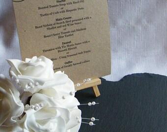 Personalised A5 Wedding Menu Card Vintage Kraft Brown