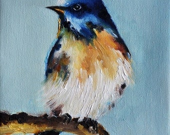 Original Oil Painting, Impressionist Eastern Bluebird On a Branch, American State Bird 6x6 Inch