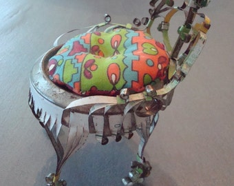 Vintage Mini-Chair, Scrolled & Fringed - Made from Can - Excellent Vintage Condition!!