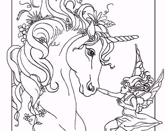 ADULT COLORING PAGE; fantasy, unicorn, fairy, digital download, original art,