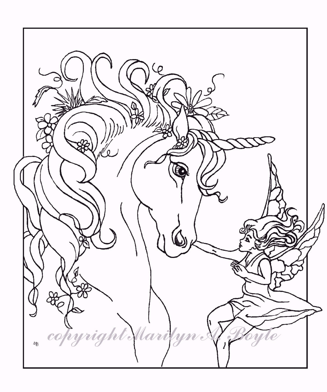 adult coloring page fantasy unicorn fairy digital. Black Bedroom Furniture Sets. Home Design Ideas