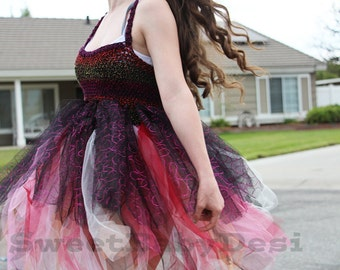 Glittery Tutu Dress, Crochet Black Sparkly Princess Gown