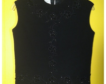 Vintage '60s black Wool beaded Daisy Shell / Top, size S / M