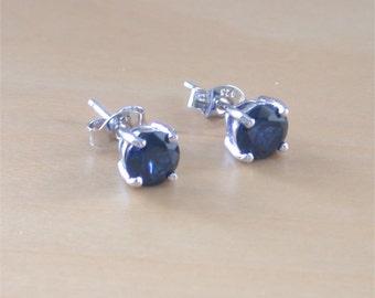925 Sapphire (Lab Created) Stud Earrings/925Silver Sapphire Studs/Sapphire Jewellery/Sapphire Jewelry/Sapphire Jewelery/September Birthstone