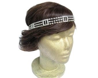 The Great Gatsby Headpiece Downtown Abbey 1920's Rhinestone Headband Art Deco Flapper Headband Wedding Headband Bridal Headpiece