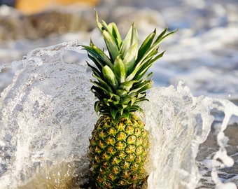 Boho Pineapple, Wave, Ocean, Beach, Photography, Fine Art