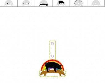 PIG Rainbow Bridge  - Potbelly - Pet Loss - In The Hoop - Snap/Rivet Key Fob - DIGITAL Embroidery Design