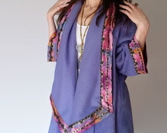 Plus Size Womens Clothing, Womens Winter Coats Jackets, Womens Fleece Jacket, Winter Coat, Fleece Womens Outerwear, Purple w Moroccan Batik