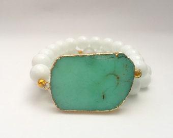 Teal Chrysoprase stretch beaded bracelet set