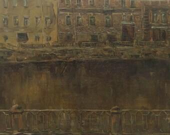 On Fontanka - St. Petersburg's landscape - original oil painting on canvas