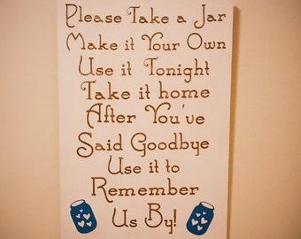 Take a jar drink table wedding sign