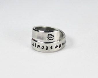 Always By My Side Ring, Pet Memorial Ring, Dog Or Cat Paw Print Wrap Ring, Personalized Pets Owner Gift