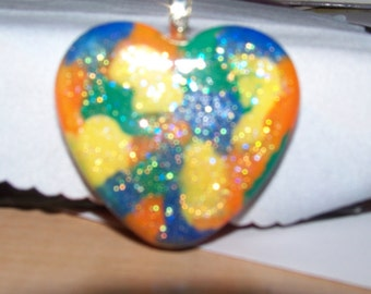 Pendant - Heart Orange, Blue, Green, Yellow with Sparkles (H5006)