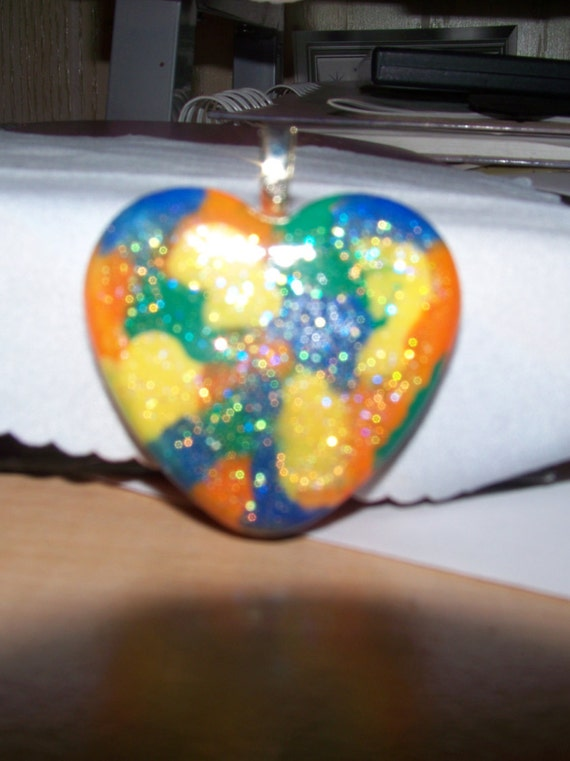Pendant - Heart Orange, Blue, Green, Yellow with Sparkles