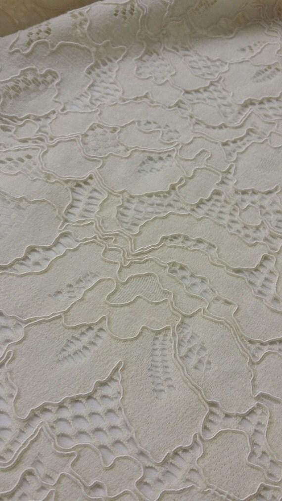 Ivory lace fabric by the yard Spanish Lace Alencon by ...