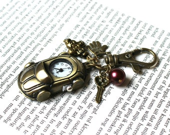 Vintage Style Bronze Tone Car pocket Watch with hand and key