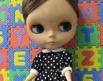 Blythe Doll Outfit white Dot Blue Dress + Hair Bow Clip